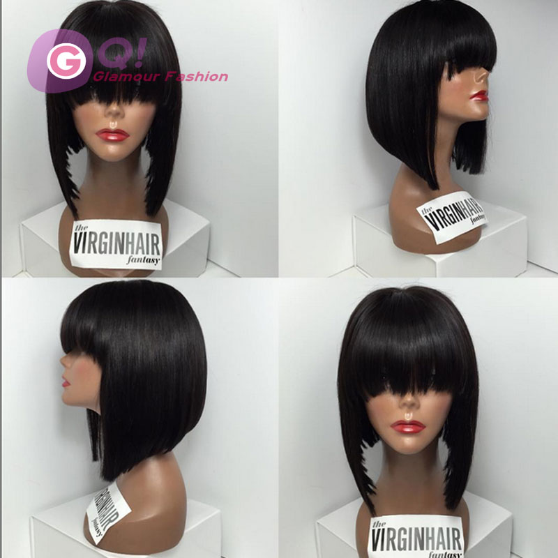 GQ 100% brazilian short human hair lace wigs glueless full lace bob wig with bangs full lace human hair bob wigs for black women<br><br>Aliexpress