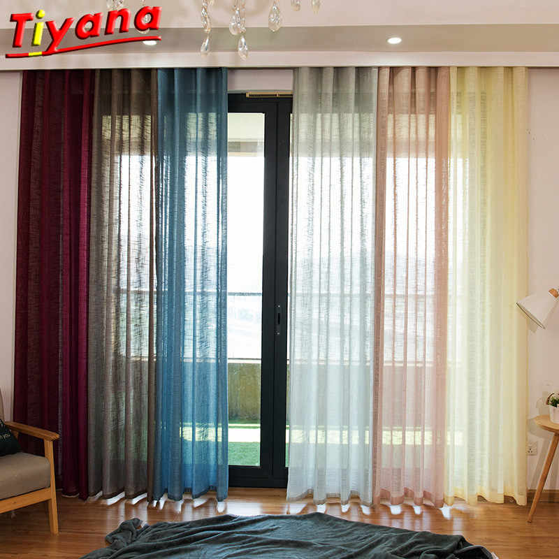 Modern living room sheer curtain white beige purple coffee blue voile tulle valance for living room bedroom hotel door Su010 *30