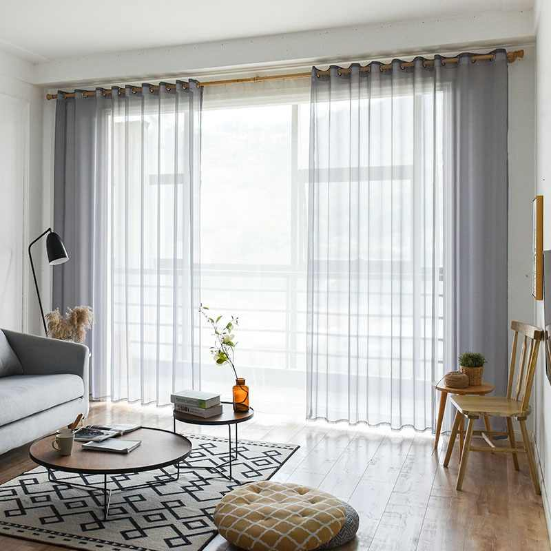 Grey/Coffee Solid Voile Door Window Curtains Drape Panel Sheer Tulle for Home Decor Living Room Bedroom Kitchen