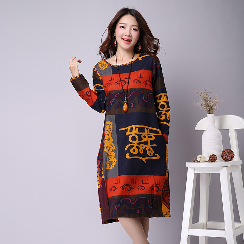 ladies big size clothes 2016 new autumn women's national style cotton linen floral printed long-sleeved vintage dress  -  Shenzhen WanSu Garments Co., Ltd Store store