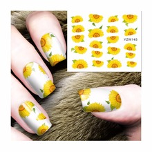 YZWLE 1 Sheet Sunflower Designs DIY Decals Nails Art Water Transfer Printing Stickers For Nails Salon 145(China)