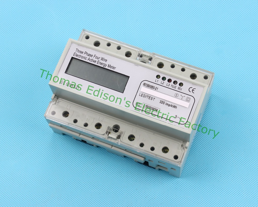 Din rail Three phase 10(100) A electronic KWH energy meter digital Watt hour din rail meter LCD 10 to 100 A 50HZ 60HZ 380V<br><br>Aliexpress