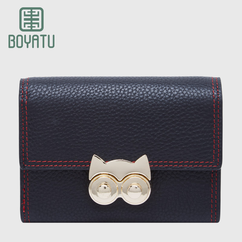 BOYATU Female Genuine Leather Wallets And Purses Women Luxury Famous Brand Cat Clamp for Money 2017 Ladies Small Slim Wallets<br>