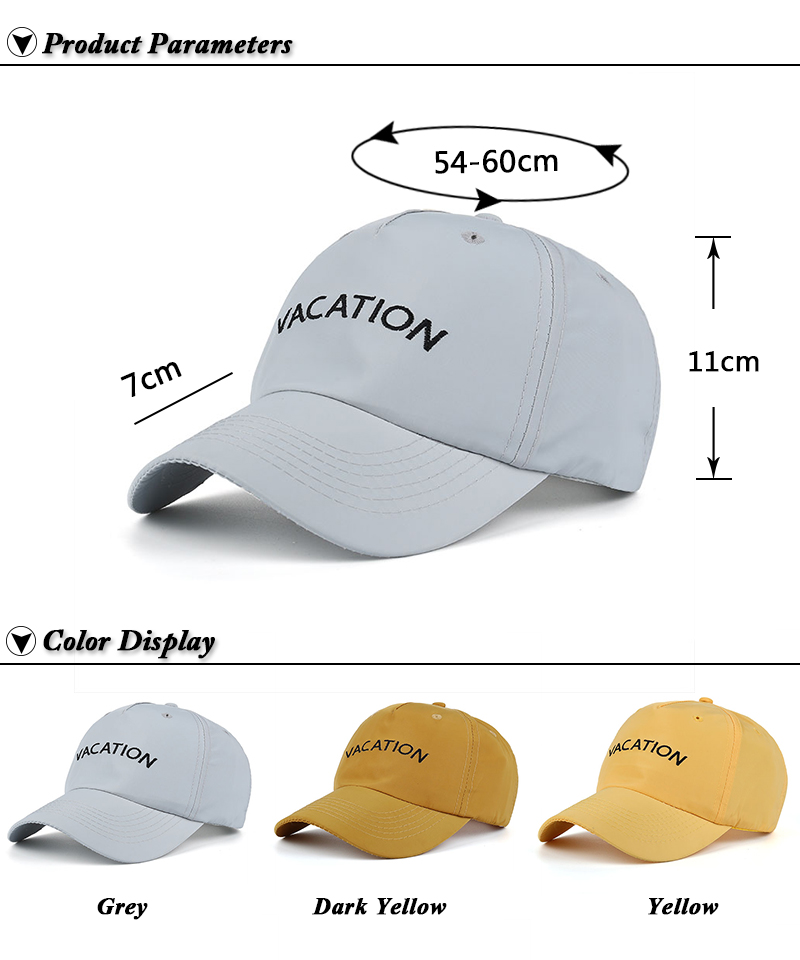 "Embroidered ""Vacation"" Baseball Cap - Product Parameters and Available Colors"