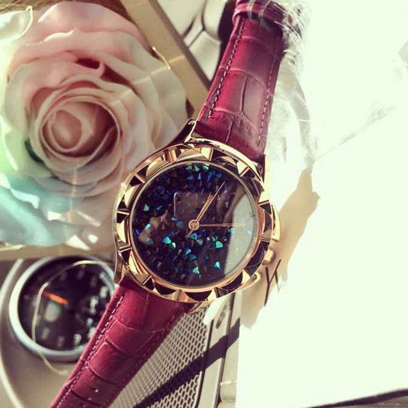 Ladies Fashion Quartz Watch Women Rhinestone Leather Casual Dress Womens Watch Rose Gold Crystal montre femme reloje mujer 2016<br>