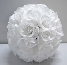 Free shipping 30cm*10 pcs Rose kissing ball artificial silk flower wedding decoration pure white color 1A