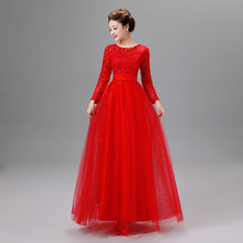 women's elegant red formal full sleeve long gown floor length evening dress 2017 new arrival dresses women free shipping S2826