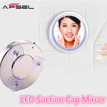AFSEL 6 Inch 5X Led Suction Cup Mirror Makeup Single Side Cosmetic Mirror Lights Compact Of Glass Hand bathroom wall Mirror(China)