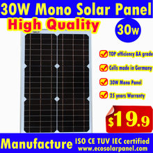 30W Mono Solar Panel 18V output to charge 12V battery German Made solar cells - High quality from DG SUNWORLD manufacture