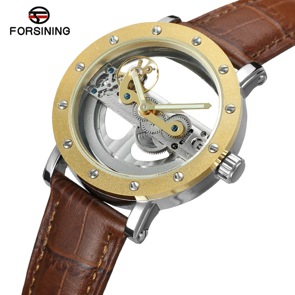 FORSINING Mens Unique Fashion Design Automatic Self-winding Popular Style Genuine Leather Strap Skeleton Wristwatch  On Sale<br>