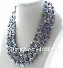 $wholesale_jewelry_wig$ free shipping huge silver gray coin natural SOUTH Reborn keshi pearls necklace