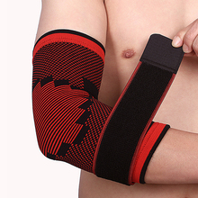 1Pcs Compression Elbow Support Sleeve Wrap Strap Guard Tennis Basketball Sports Protection Gym Fitness - Black + Red