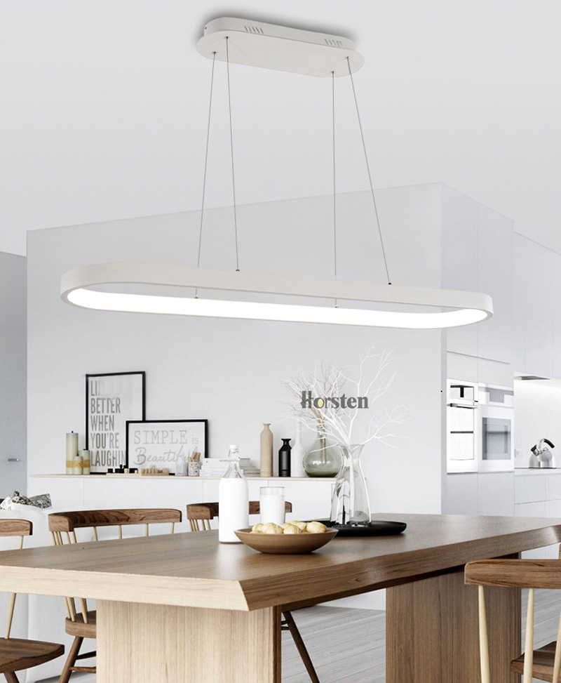Modern Minimalism Oval Ring LED Pendant Lights Aluminum Acrylic Suspension Hanging Lamps For Dining Room Restaurant Office (8)