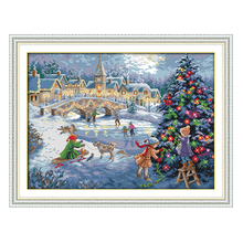 Joy Sunday count crossstitch kit A Christmas celebration DMC14CT11CTcottonfabric baby room livingroom hotel painting wholesale(China)