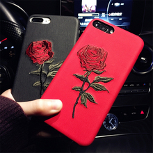 Luxury Imitation leather Back Covers For Apple iphone 6 Plus 6s Plus New Fashion Embroidery Rose Phone Case Art Accessories