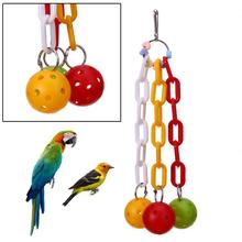 Bird Toys Hanging Swing Cage Parrot Toys Plaything Climbing and Biting Toy Plastic Chain Ball Cockatiel Bird Accessories(China)
