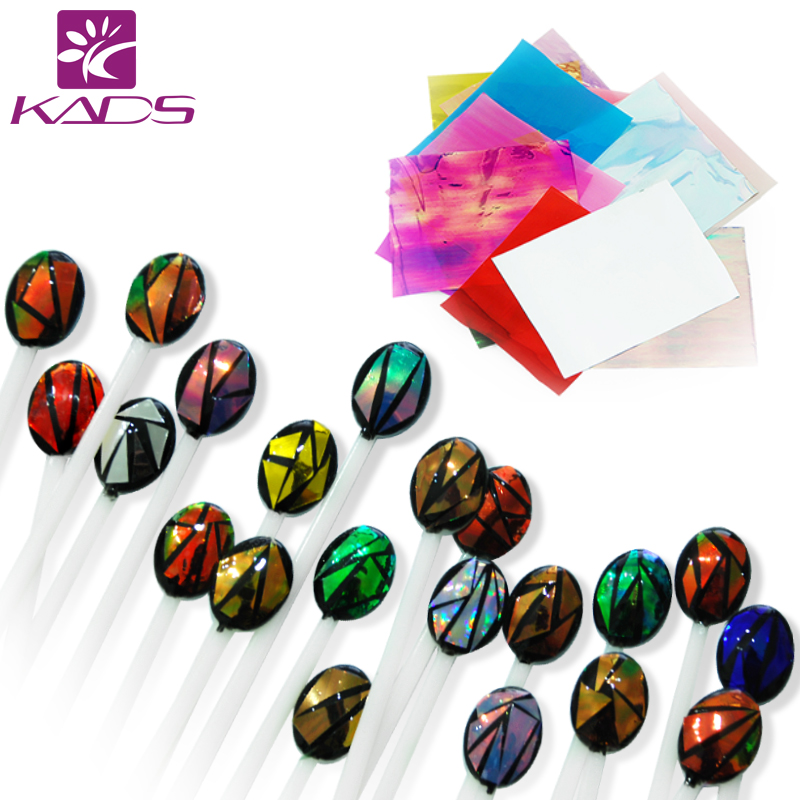 KADS 21pcs pack Holographic DIY Nail Art Broken Glass Foil Finger Stencil Decal Sticker 21 Colors
