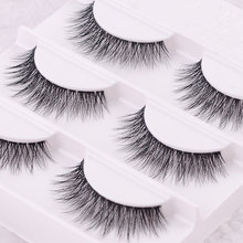 Free shipping 3pcs/lot 100% handmade real mink fur false eyelash 3D strip mink lashes thick fake faux eyelashes Makeup beauty(China)