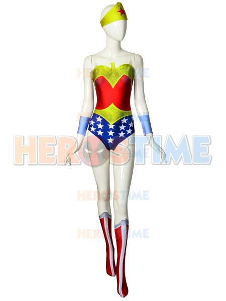 New Wonder Woman Cosplay Costume 3D Print Spandex Wonder Woman Cosplay Zentai Suit for girls Hot Sale