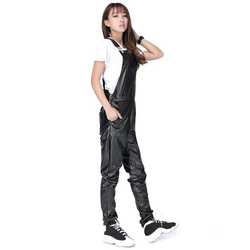 SIMPVALE Men Women Pants Print Jumpsuit Long Strap Design Black PU Suspenders Sling Pant Leather Men and Women Overall