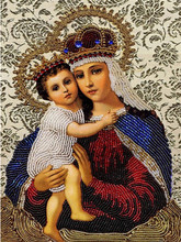 DIY 5d Needlework Diamond Embroidery Fashion Religion Paintings Virgin Mary Jesus Christ Images Figurine Cross Stitch Kit Crafts(China)