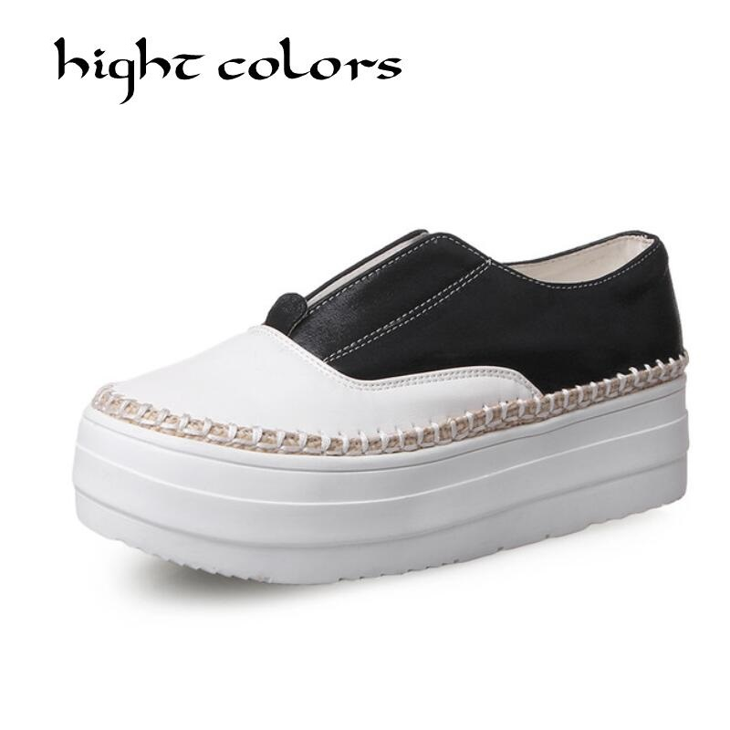 Womens Loafer Autumn Spring Black White Sliver Shoes Zapatos Nujer Flat Women Slip on Casual Flats Platform Shoes Loafers<br>