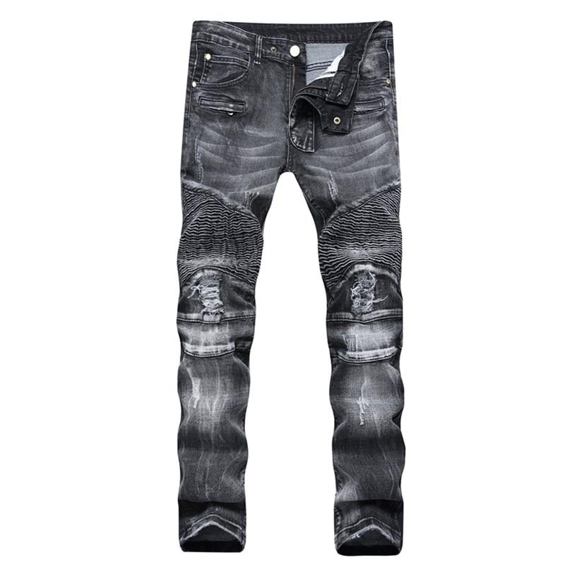 Plus size 29-42 gray Blue Biker Jeans Ripped Slim Hip Hop Denim Trousers Mens Jeans High Quality Motorcycle Pants Punk HommeÎäåæäà è àêñåññóàðû<br><br>