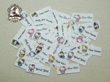 56 Kid's Clothing Labels,Personalized Name  Tags For Children, Organic Cotton Iron on Labels,custom name tags,Kitty label