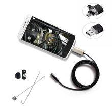 2 in 1 Waterproof 7mm Lens PC Android Endoscope Camera 1m 2m 3.5m 5m 10m Cable 6 LED Inspection Borescope Car Endoscope