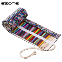 EZONE 1PC Handmade National Wind Curtain Pencil Bag Cute Large Capacity Student Roll Volume Canvas Pencil Case Stationery Gifts