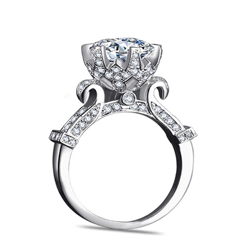 100-Pure-925-Sterling-Silver-Rings-Set-Real-1-Carat-SONA-CZ-Diamant-Engagement-Ring-Solid