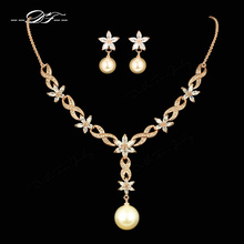 African Wedding Necklace & Pendant Earrings Sets Rose Gold Color Fashion Simulated Pearl Beads Jewelry for Women DFS303