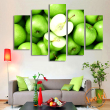 5 Panel Wall Art Green Apple Picture Fruit Painting for Kitchen Wall Decor Canvas Prints Artwork Unframed