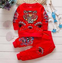 2017 new baby boys and girls suit 100% cotton clothing tiger T shirt + pants 3pcs/sets of children brand Free Shipping