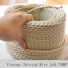 2*0.75mm Vintage Twisted Electrical Wire Beige Textile Cable Edison Vintage Lamp Cord Braided Retro Pendant Light Lamp Wire 10M