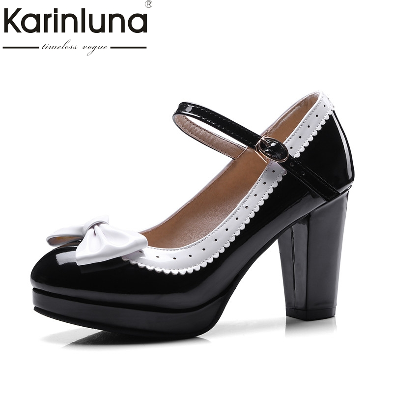 Karinluna Womens Mary Jane Bowtie Shoes 2018 Woman Vintage Chunky High Heels Platform Pumps Big Size 32-43<br>