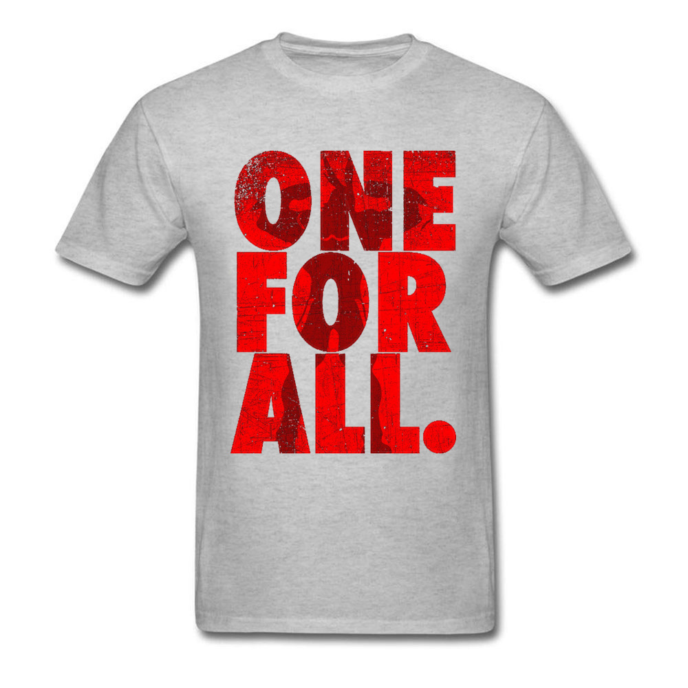 Mightier-One-For-All-My-Hero-Academia T-Shirt for Men 3D Printed Labor Day Tops Shirt Newest Tops Shirts Crewneck 100% Cotton Mightier-One-For-All-My-Hero-Academia grey
