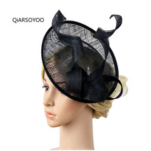Beige Black 25CM Sinamay Fascinator Women European Wedding Headwear Fascinator Hair Clip For Bride Cocktail Tea Party Linen Hat