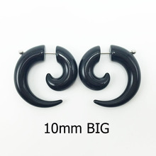 1 pair men women fashion new fake spiral ear tapers snail ear expanders black big 10mm pendientes body jewelry ear plug pircing