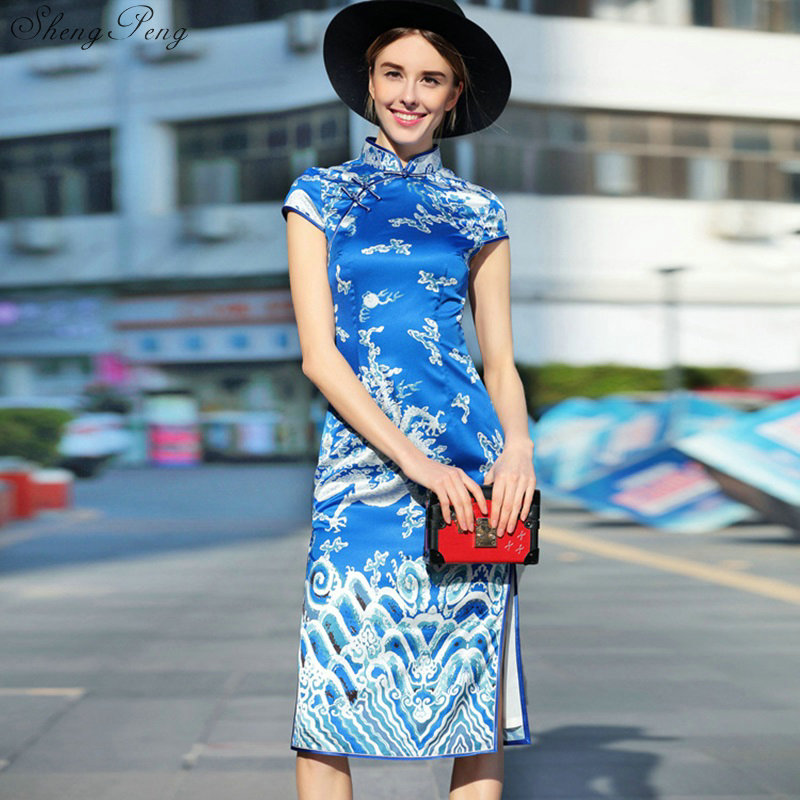 2018 New Arrival Blue Chinese Female Qipao Style Cheongsam Women Traditional Silk Satin Dress Dragon&Phenix V745