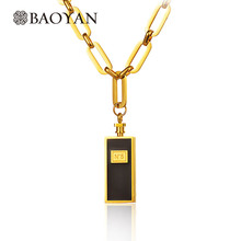 Baoyan 316L Stainless Steel Silver Gold Color Number N 5 Perfume Bottle Chunky Heavy Gold Long Chain Pendant Necklace for Women(China)