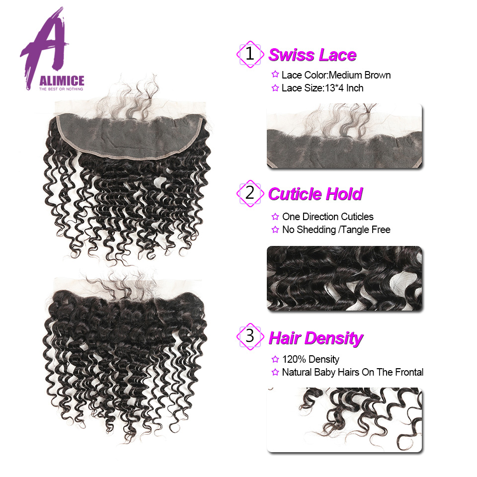 ALIMICE Hair Indian Deep Wave Hair 13X4 Ear To Ear Lace Frontal Closure 100% Non Remy Natural Color Human Hair Closure 10-24Inch (3)