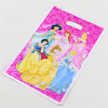 Party supplies 1 bag 10PCS Cartoon princess theme party, party decoration PE fluorescence gift bag candy bag cartoon pattern