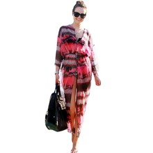 Summer long kaftan dresses for sale buttons slit tie dye printing dress chiffon beach wear 2017 african clothing style M42157