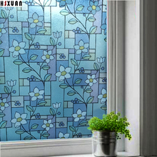 window frosted film 60x100cm flower patterns static stickers removable tint film on window decorative Hsxuan brand 602033(China)