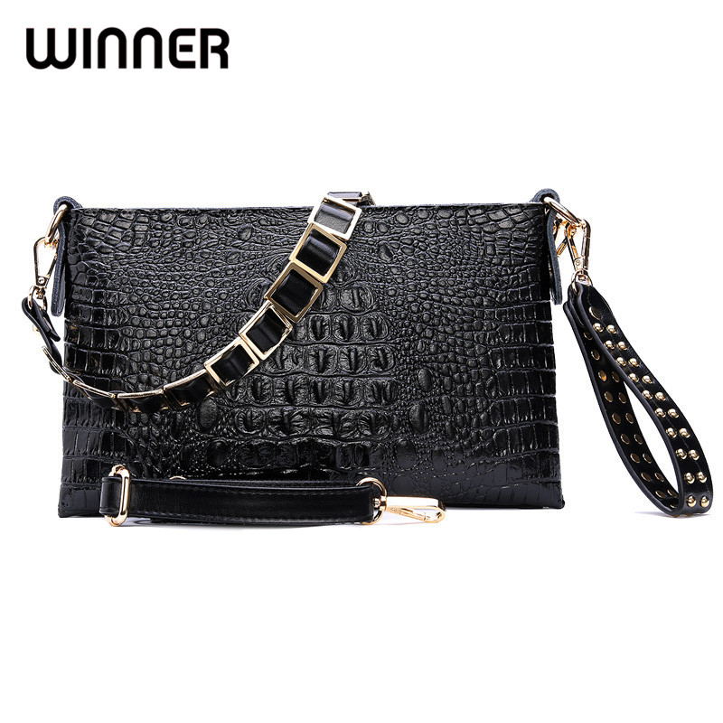 Envelope Evening Clutch Bags White Crocodile Pattern Genuine Leather Women Shoulder Bags Crossbody Purses and Handbag Lady<br>