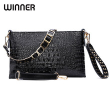 Envelope Evening Clutch Bags White Crocodile Pattern Genuine Leather Women Shoulder Bags Crossbody Purses and Handbag Lady(China)