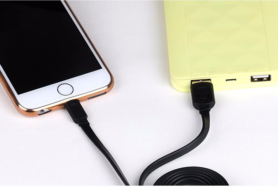 For IPhone Cable IOS 11 10 9 USAMS 2.1A Fast Charging 0.25m 1m 1.5m Flat Usb Charger Cable For iPhone 8 7 i6 iPhone 6 6s X Cable 18