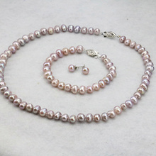 "natural Purple pearl necklace set 7-8mm 18"" bracelet 7.5"" earrings 2 piece/lot DIY wholesale women wear jewelry"