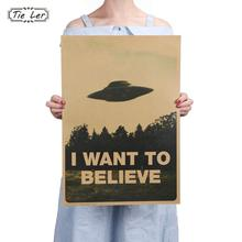 TIE LER Vintage Classic Movie The Poster I Want To Believe Poster Bar Home Decor Kraft Paper Painting Wall Sticker 51.5X36cm(China)